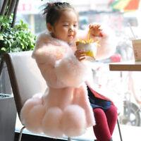 Kids Children Girls Winter Faux Fur Outwear Jacket Parka Trench Coat Tops Warm