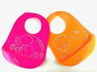 4 Pack Baby Bibs Silicone Easy to Clean - Anti Spill Pocket Adjustable 6m to 3y