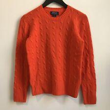 NEW Polo Ralph Lauren Orange Cashmere Cableknit Sweater Boys M 10-12