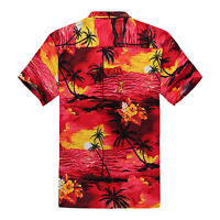 Plus Size 4X 5X 6X Men Hawaiian Shirt Luau Aloha Cruise Sunset Red Scenic