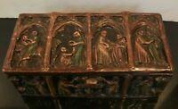 Antique Christian Paneled Gothic Medieval Jewelry Trinket Lidded Casket Box
