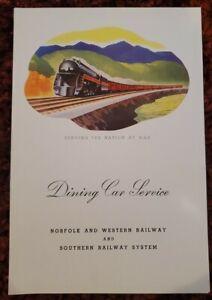 Norfolk & Western and Railway & Southern Railway Dining Car Service Menu