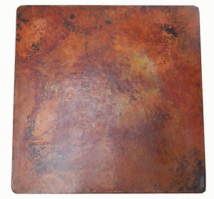 Mexican Square Copper Table Top Hand Hammered Natural Patina 48 Inches