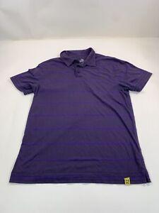 Under Armour Polo Shirt Men Purple Striped Sz Large Short Sleeve