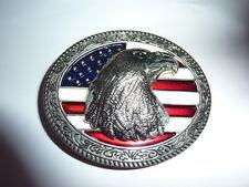 boucle de ceinture tête d'aigle sur fond de drapeau usa, country, cow boy,biker