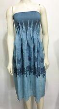 Lapis Anthropologie Blue Embroidered Strapless Boho Hippie Knee-Length Dress