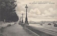 London Postcard. October Afternoon. Thames Embankment. Chelsea. Mailed  1907