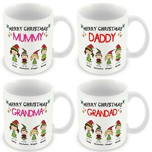 PERSONALISED MERRY CHRISTMAS MUMMY DADDY GRANDMA GRANDAD MUG PRESENT XMAS GIFT