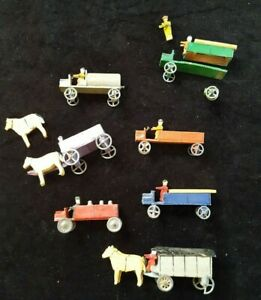 made in Germany Vintage  Village / Farm Wood Minitures trucks/vehicles lot of 7