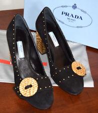 Prada Black Suede Gold Metal Block Heel Round Toe Gold Bead Detail Size 37