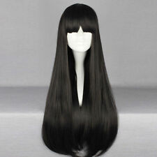80cm Black Long Straight Hair for Sailor Moon Sailor Mars Cosplay Wig with Bangs