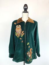 BOB MACKIE Wearable Art Womens Full Zip Velvet Jacket Green Owl Squirrel Fall S