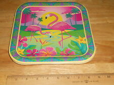 """Pink Flamingo Design 9"""" Square Paper Party Plate Meals Snacks (14 Plates in Pac)"""