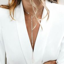 Stunning Cleavage Lariat Silver Gold Tone Choker Long Chain Statement Necklace