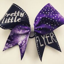 Pretty little flyer purple galaxy cheer bow with silver glitter and rhinestones
