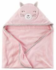 New Carter's Hooded Bath Towel Happy Cat Face Terry Material NWT Baby Pink
