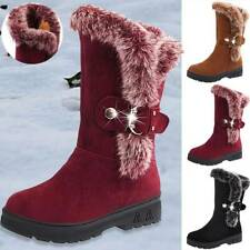 Women's Winter Warm Faux Fur Trim Snow Boots Ladies Fashion Mid Calf Flat Shoes