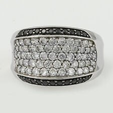 Black/White Cubic Zirconia Wide Ring, Sterling Silver