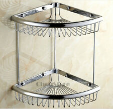 Chrome Bathroom Shower Shelf Bath Wire Caddy Basket Double Layer Storage Holder