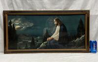 Vtg 1930-40's JESUS Giovanni Mount Of Olives Lithographs Print Barbola Frame