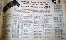 SEARS Allstate Automotive Parts Catalog Gaskets & Brake Lining ASBESTOS 1962