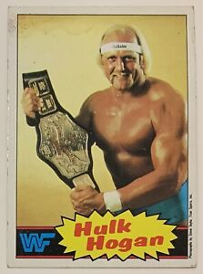 1985 Topps 1 Hulk Hogan Titan Sports WWF Rookie Wrestling Card Yellow Background