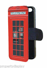 Retro Vintage Red London Telephone Box Flip Wallet Mobile Phone Case Cover
