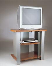 Carrello porta tv con ruote e antine in vetro modello kleo 74 ciliegio tecnidea