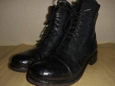KBR ANKLE BOOTS, COMBAT BOOT STYLE, BLACK LEATHER, EURO SIZE 38 1/2, NEW
