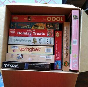 Box Lot Of 11 Puzzles - Springbok Disney Hallmark others 500-1000 pieces all