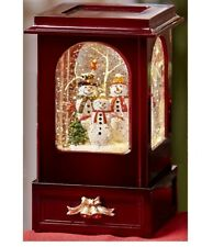 Snowman Family Water Globe Lighted Scene Swirling Snow Vintage-styled Cabinet