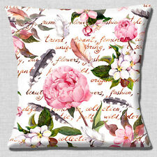 """Shabby Chic Peonies 16""""x16"""" 40cm Cushion Cover Flowers Feathers Writing White"""