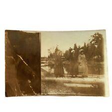 Antique RPPC Photograph Postcard Edwardian Women On Log Funny Portrait
