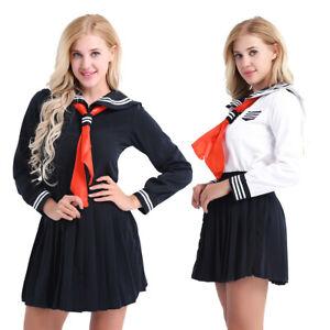 Femme Uniforme Scolaire Deguisement Écolière Japonaise Cosplay Costume S-XXL