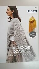 Patons Crochet Pattern #9003 Poncho or Scarf to make in Patons Inca Yarn