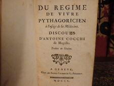 Du régime de vivre pythagoricien discours d'Antoine Cocchi 1750 Végétarisme