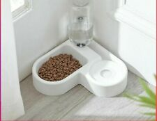 Pet Cat Feeder Bowl Dog Automatic Water Double Bowls Food Wall Corner Save Space