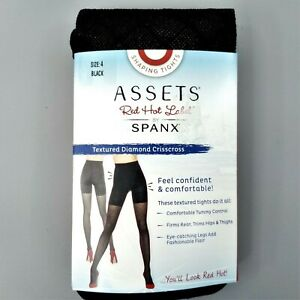 Spanx Assets Red Hot Label Textured Tights NEW Black Size 4 D Diamond Crisscross