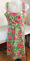 Sweet London Times Pink Green Floral Summer Spring Dress Size 6 C87