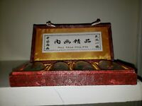 Original box. 4 snuff bottles with reversed handpainted fish. Nei Hua Jing Pin