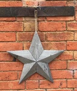 Grey Washed Natural Wooden Barn Star Shabby Chic Wall Hanging Decor