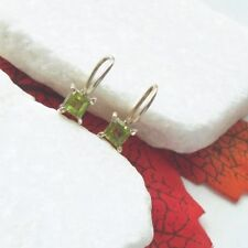 Peridot eckig grün green schlicht modern Ohrringe Ohrhänger 925 Sterling Silber