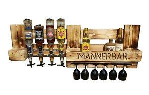 Rustikale Wandbar mit Getränkespender Flaschenhalter Weinregal Geschenk Regal