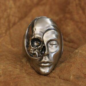 LINSION Cupronickel Life Death Heaven Hell Skull Face Punk Ring CP179B UK N½~Z4