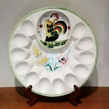 Embassy Quality Products deviled egg plate, Rooster, hand painted, 12