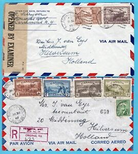 CANADA 2 air covers 1945 censored, 1948 R Toronto to Netherlands