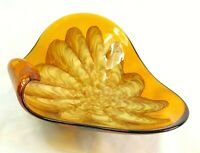 """Vintage Large MCM Murano Art Glass Console Dish Bowl Hand blown Green Amber 10"""""""