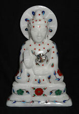 Antique Marble Buddha Inlay Floral Handmade Buddhism Religious Collectible Gifts