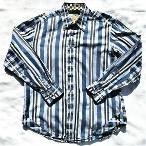 Robert Graham Mens L Embroidered Accent Flip Cuff Long Sleeve Button Down Shirt