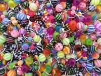 LOT 10 piercing NOMBRIL acier chirurgical tous différents boules couleurs bijoux